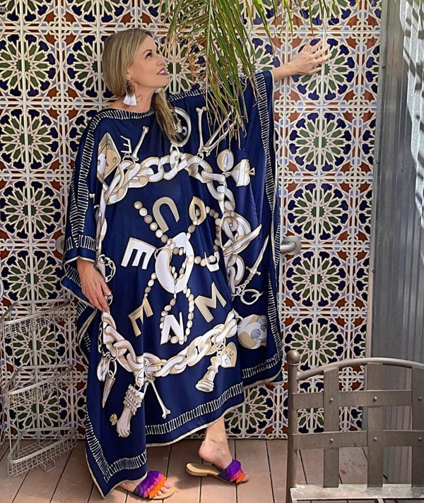 """McQ"" QUEEN Silk Caftan in Navy Blue"