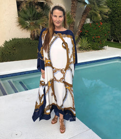 """Belts"" Long Silk Caftan in Navy"