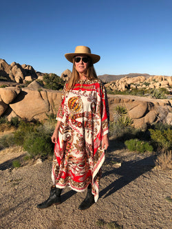 """Zenobi Wine"" Long Silk Caftan"