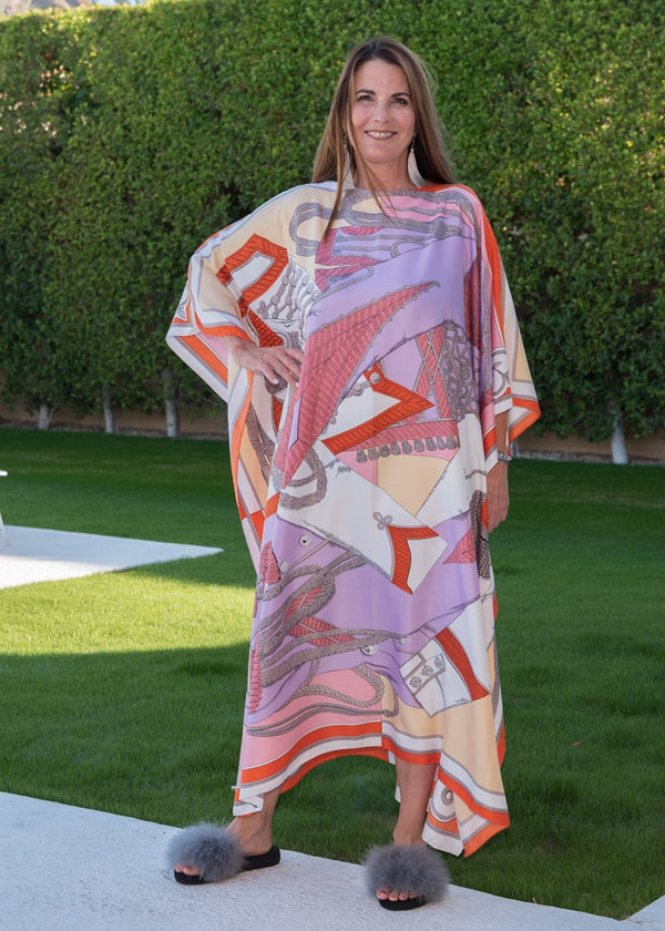 """Luxe Lilac"" Long Silk Caftan"