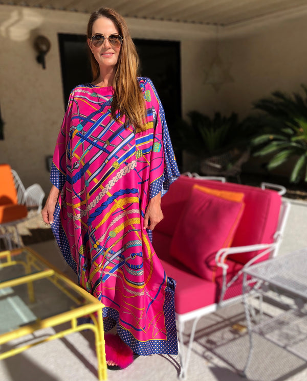 """Riding Crops"" Silk Caftan"