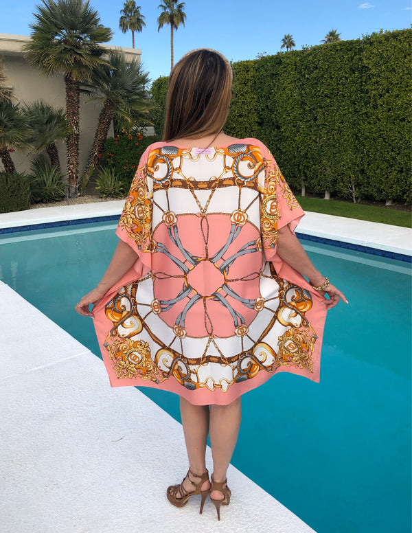 """Cercle Rose"" Silk Midi Caftan in Pink"
