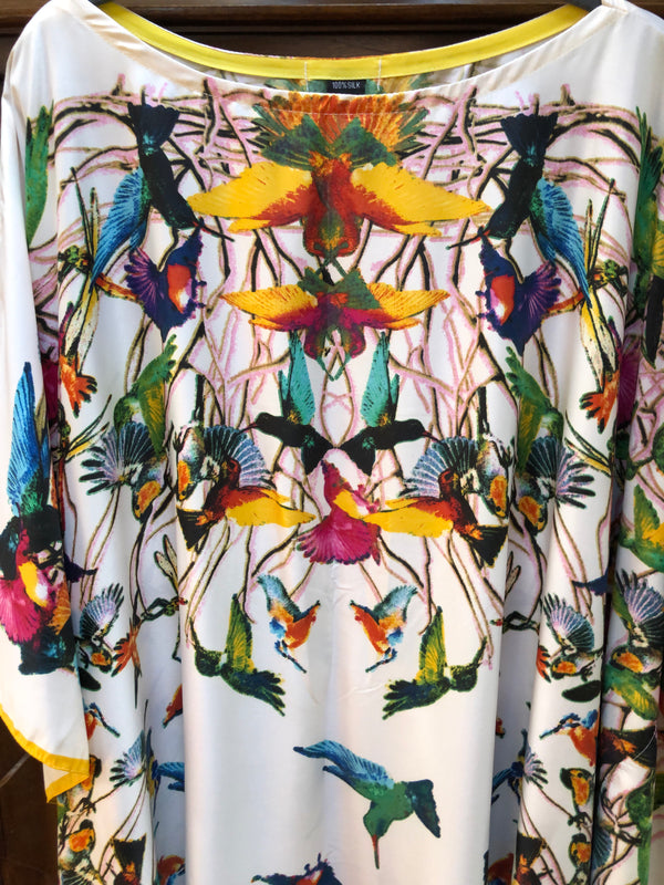 """Hummingbird "" Long Silk Caftan"