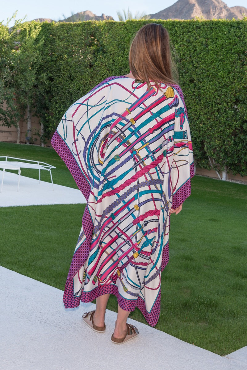 """Riding Crops"" Long Silk Caftan"