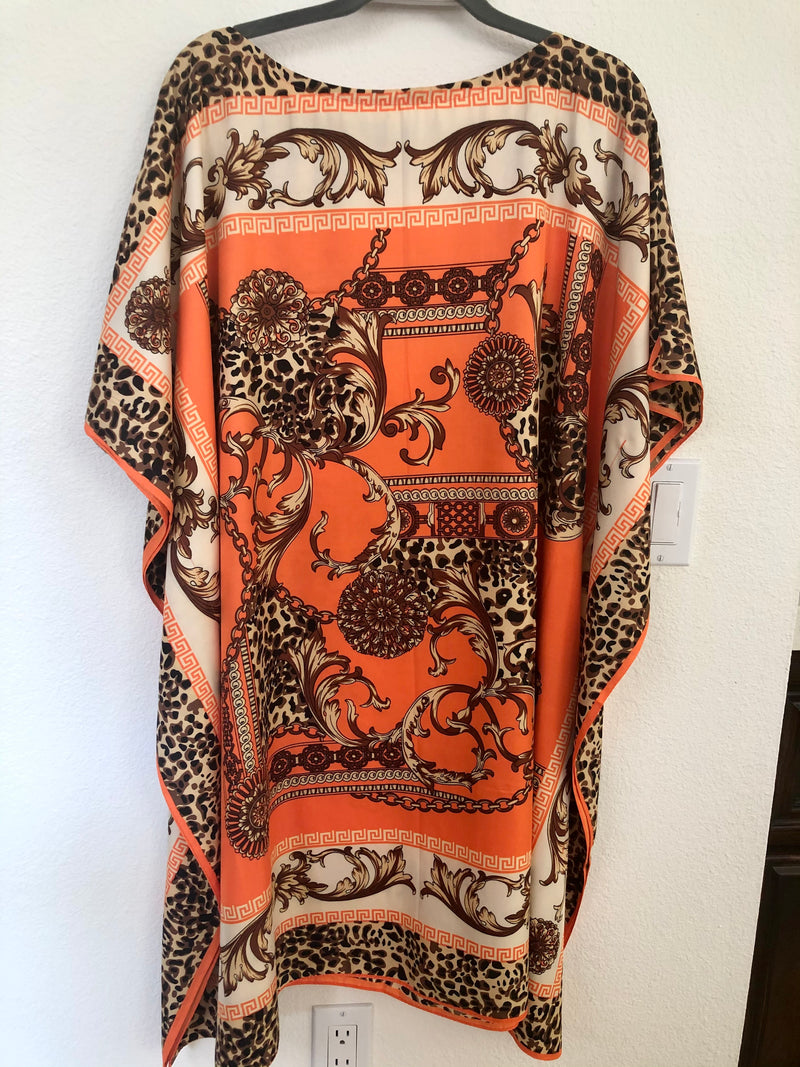 """Very Versace Leopard ""Silk Midi Cream or Orange """