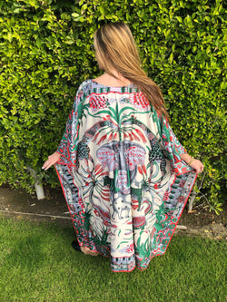 """Animaux Africans"" Long Silk Caftan"