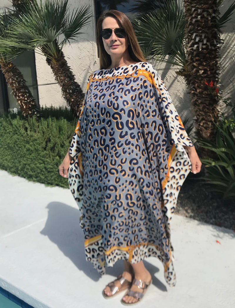 "Long Silk Caftan in ""Exotic Grey """