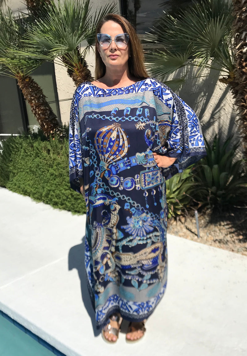 """Blue Zenobi"" Long Caftan"