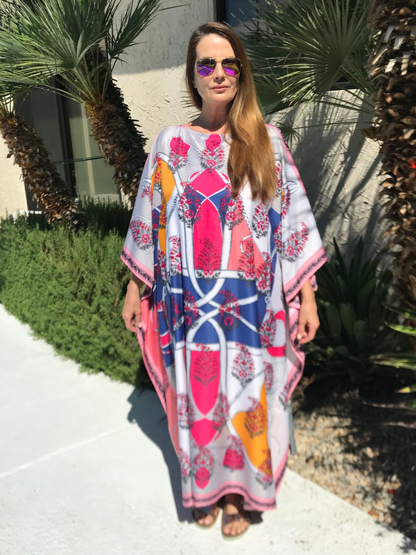 "Long Silk Caftan ""India"" Pink"
