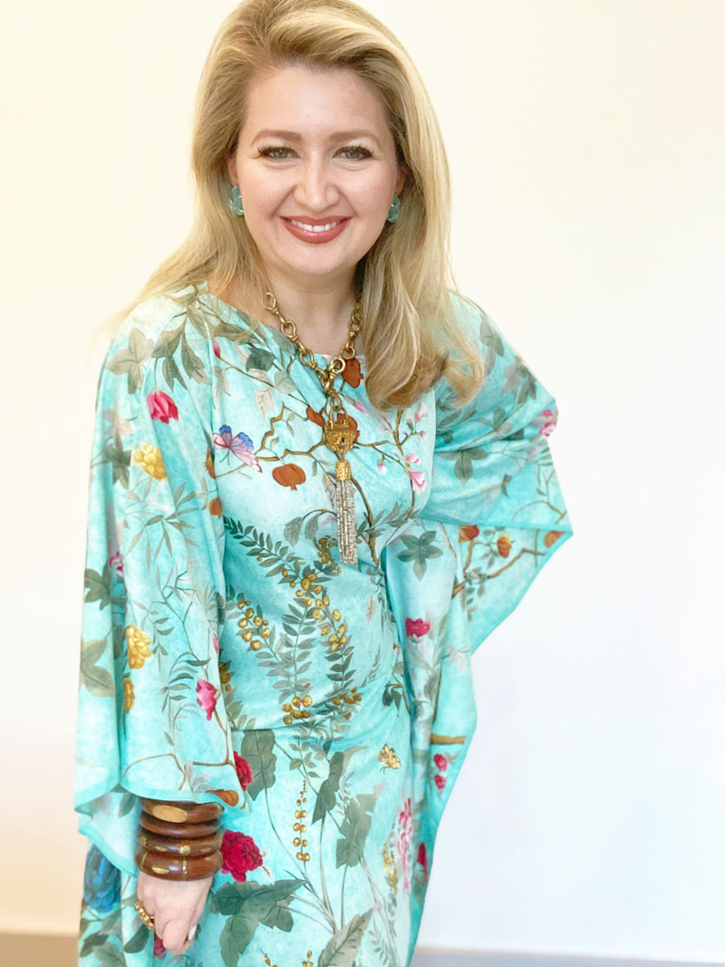 """Chinoiserie Aqua"" Long Silk Caftan"