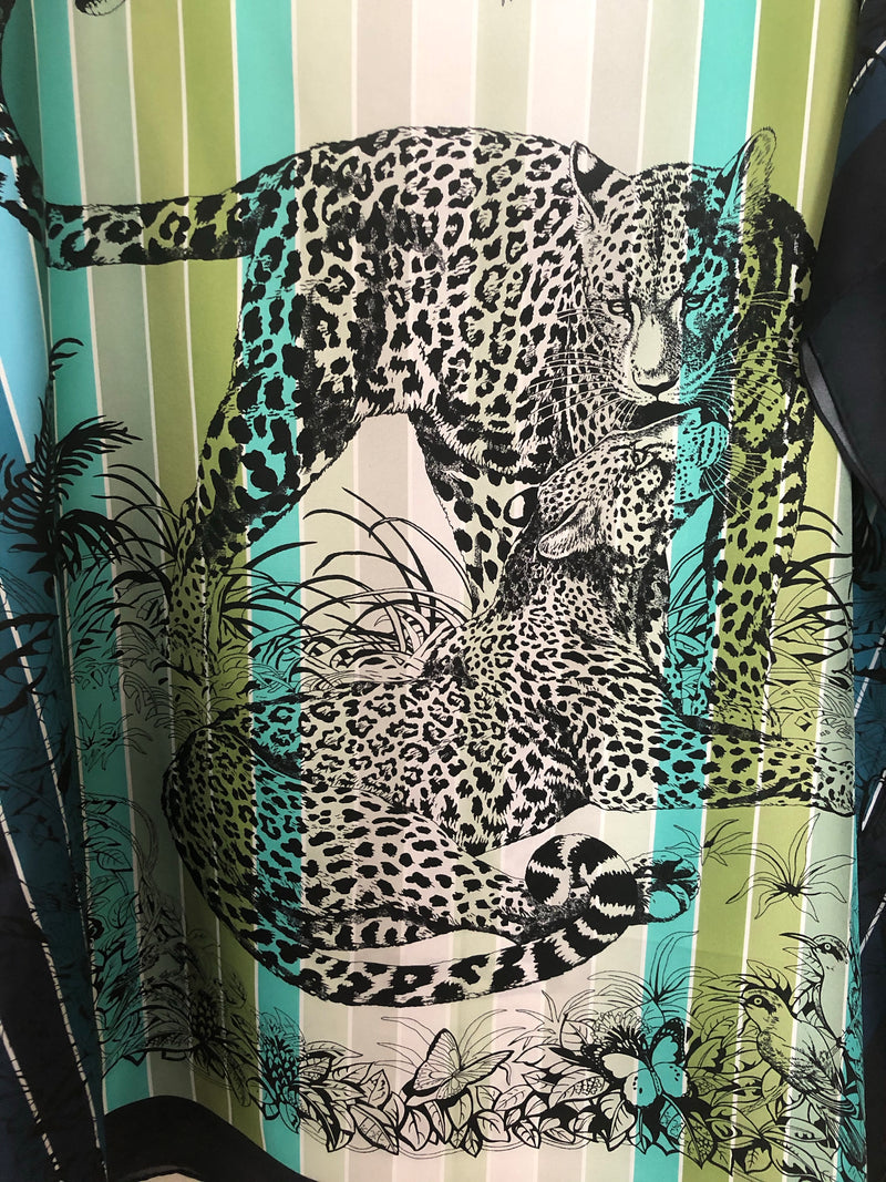 """Jungle Love"" Silk short Caftan  36"""