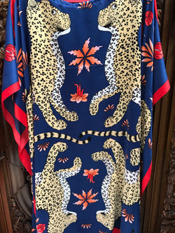 """Leopards"" Midi Silk Caftan"