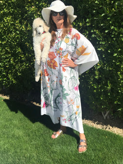"Long Silk Caftan ""White Floral Fantasy"""