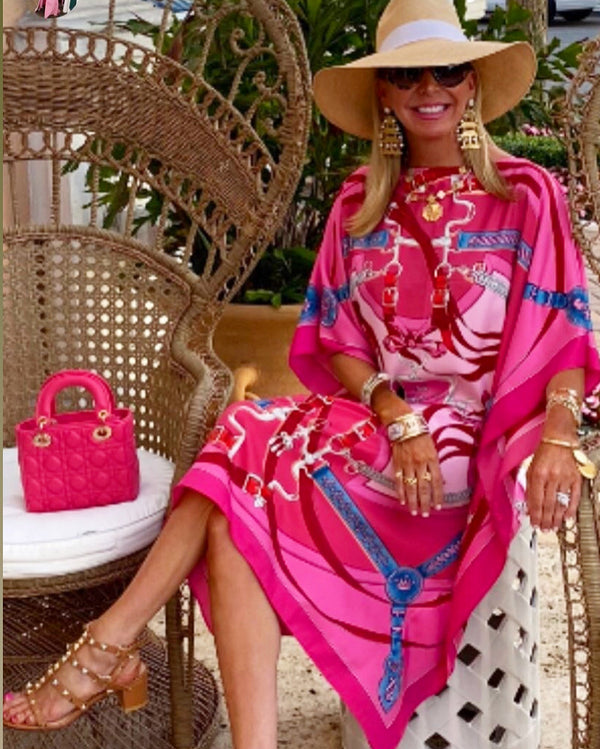 "La Prom"" Pink Midi Silk Caftan 💞May 10💞 delivery"