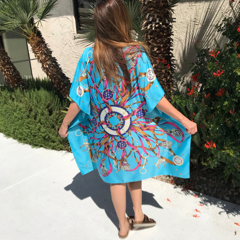 "Turquoise Midi Caftan in ""Ribbon Mandela""Final Sale💙"