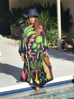 "Long Silk Caftan ""Palm Springs"" 🌴Four Colors"