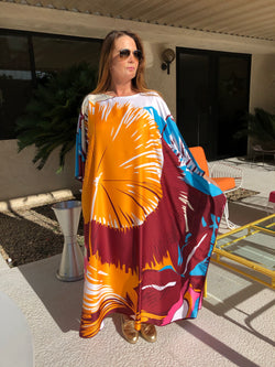 """Tropical "" Long Silk Caftan"