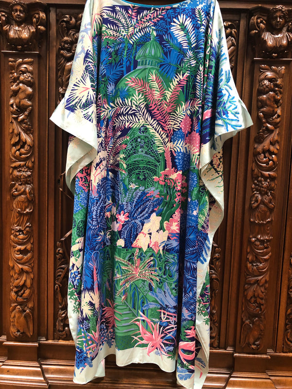 """Italian Garden"" Long Silk Caftan *New*"