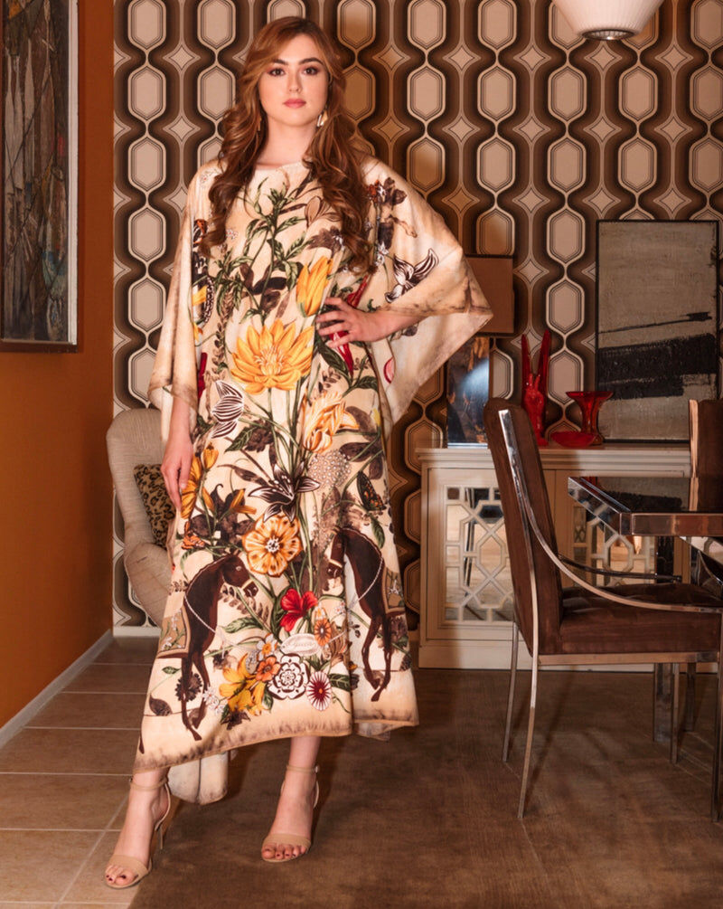 """Beige Floral Folly"" Long Silk Caftan"