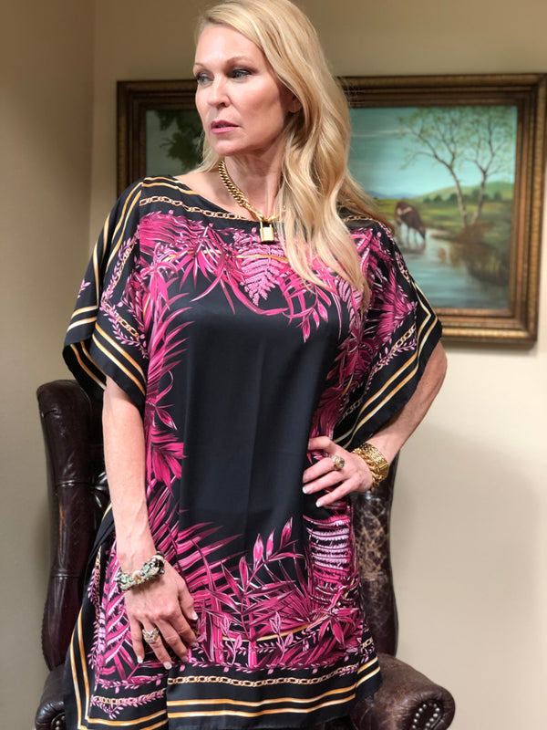 """Circle of Ferns"" Green or Pink Short Caftan"