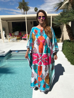 """India"" in Turquoise Silk Caftan"