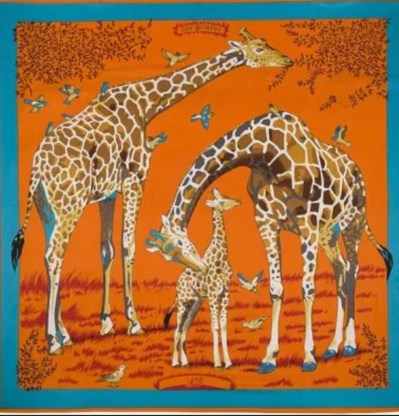 """Les Giraffes "" Long Silk Caftan Orange"