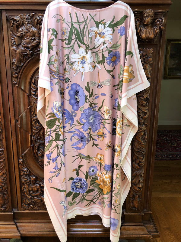 """Dragonfly Floral"" Long Silk Caftan"