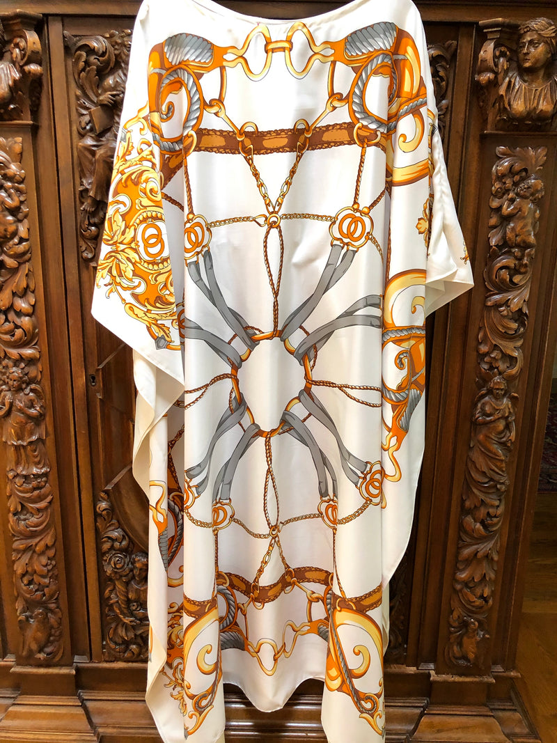 """Elements"" Ivory Long Silk Caftan"