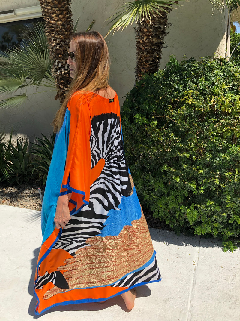 """Zebra Pegasus"" Long Caftan (Pink or Orange )"