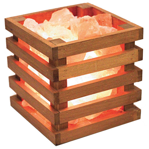 Himalayan Salt Lamp With Wooden Square Basket