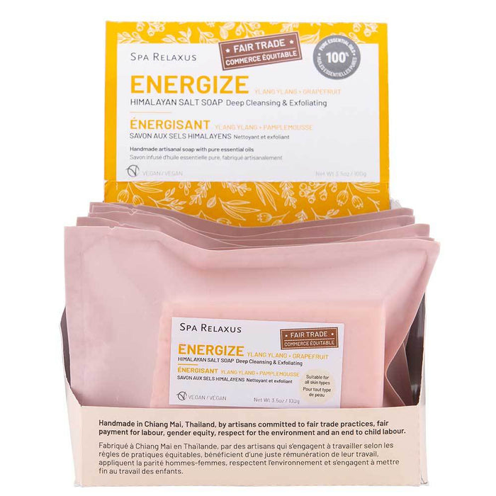 Energize Ylang Ylang & Grapefruit Himalayan Salt Soap (Various) Displayer of 6