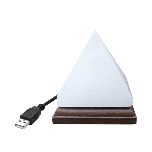 Pyramid White Himalayan Mini Salt Lamp With USB