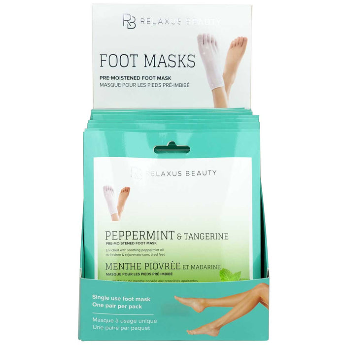 Peppermint & Tangerine Foot Masks Displayer of 12