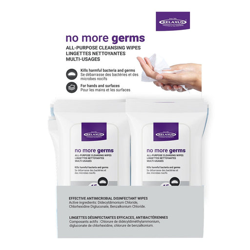 No More Germs Anti-Bacterial Cleansing Wipes Displayer of 12