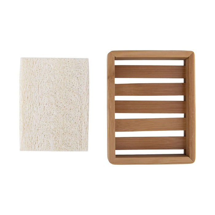 Bamboo Soap Tray With Loofah