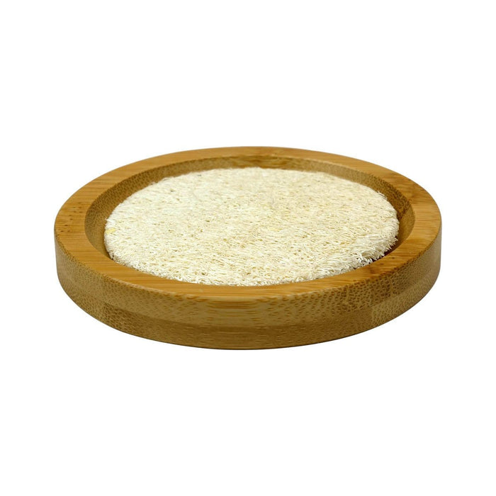 Round Bamboo Soap Tray with Loofah Pad