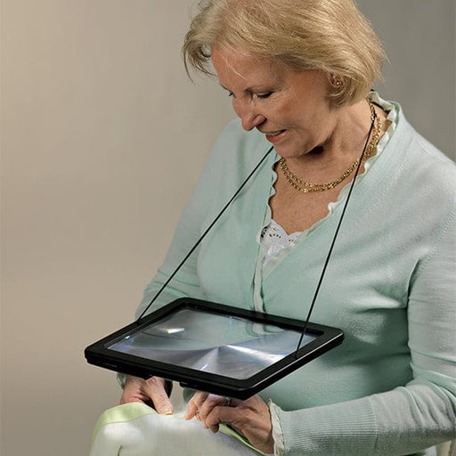 Woman using Hands Free Mega Magnifier Glass