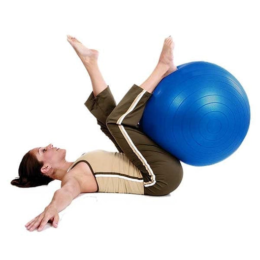 Woman exercising with Blue Anti-Burst Exercise Ball
