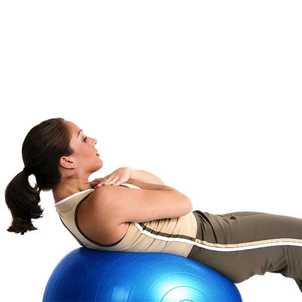 Woman balancing on Blue Anti-Burst Exercise Ball