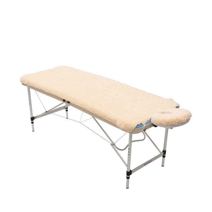 Massage Fleece Face Cradle Cover with fleece pad on table