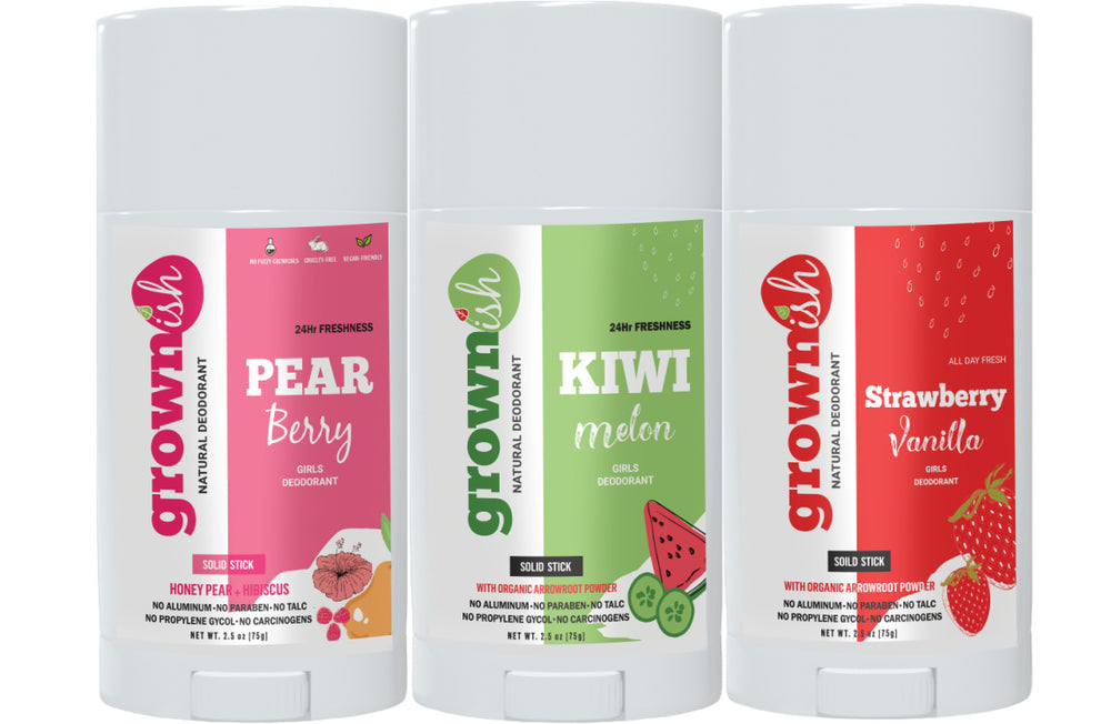 DEODORANT FOR GIRLS (3Pk Combo SET) –  Pear-Berry + Kiwi-Melon + Strawberry Vanilla