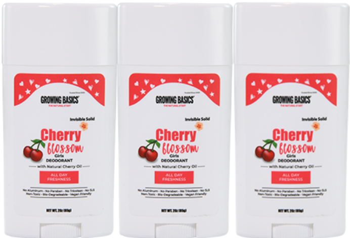 CHERRY BLOSSOM - Aluminum Free Girls Deodorant (Set of 2)