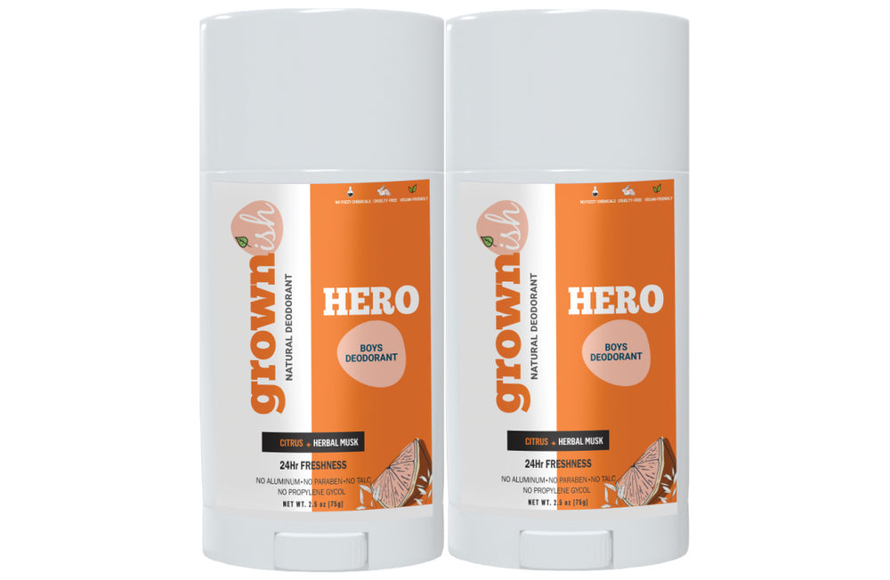 HERO – Boys Deodorant (SET OF 2) High Performance Naturals- Aluminum-free deodorant for kids 8 - 18
