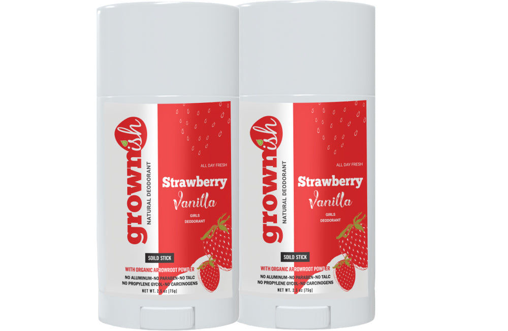 STRAWBERRY + VANILLA  (Set of 2) Aluminum Free Girls Deodorant