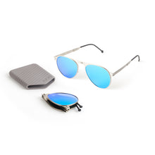 Load image into Gallery viewer, ROAV Earhart Brushed Silver Frame / Blue Mirror Lens