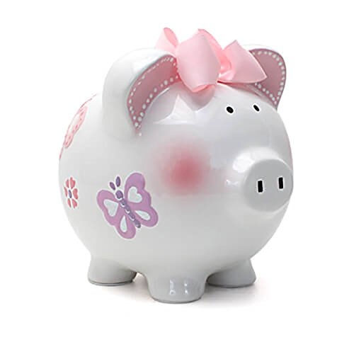Child to Cherish Ceramic Piggy Bank for Girls, Butterfly