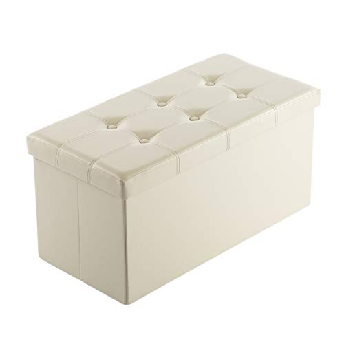 "AuAg Folding Storage Ottoman Bench Faux Leather Toy Box/Chest Window Padded Seat Foot Rest Storage Easy to Assemble (Beige, 30"")"