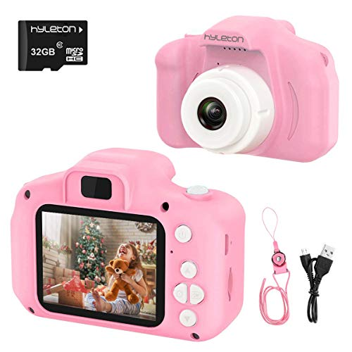Digital Camera for Kids,hyleton 1080P FHD Kids Digital Video Camera Camcorder for 3-10 Years Girls Gift with 32GB SD Card & 2 Inch IPS Screen (Pink)