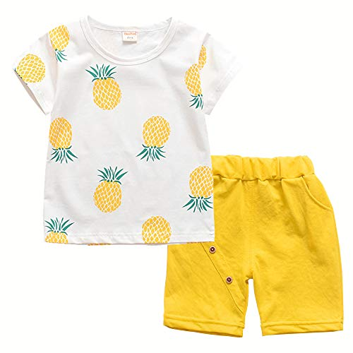 Toddler Baby Boy Girl Summer Clothes Sets Casual Shirts & Shorts Outfits(Yellow,18M)