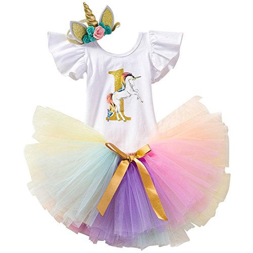3PCS Toddler Baby Girls Unicorn Outfit One Mermaid Romper Top+Tutu Skirt + Headband Summer Clothes Set #1 White